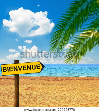 Tropical beach and direction board saying BIENVENUE - stock photo