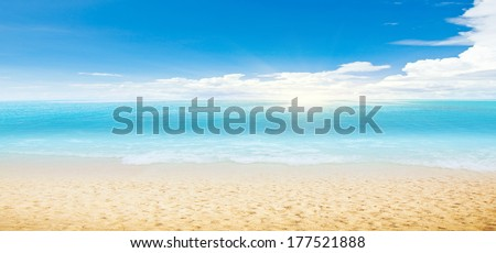 Tropical beach and ocean. Panoramic shot - stock photo