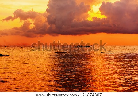 Tropical beach at beautiful sunset. Nature background