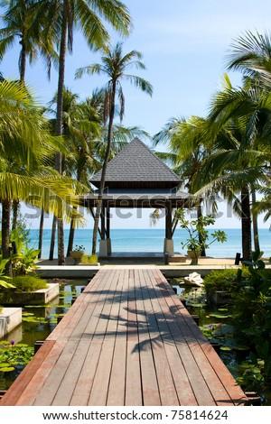 Tropical beach at island Koh Chang , Thailand. - stock photo