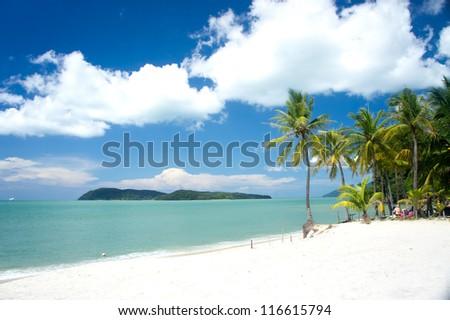 tropical beach at Langkawi island, Malaysia - stock photo