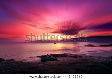 Tropical beach at sunset. color sunset on beach