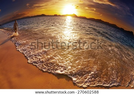 Tropical beach at sunset, El-Nido, Philippines, fisheye shot - stock photo