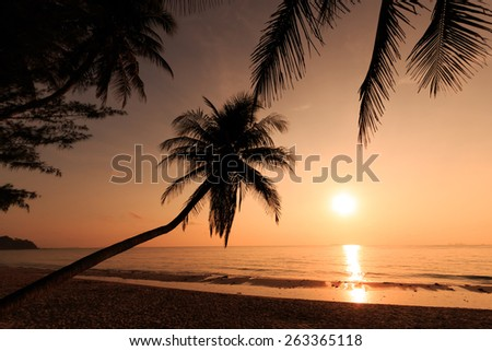 Tropical beach at sunset in Thailand