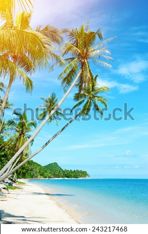 Tropical beach at Thailand - vacation background - stock photo