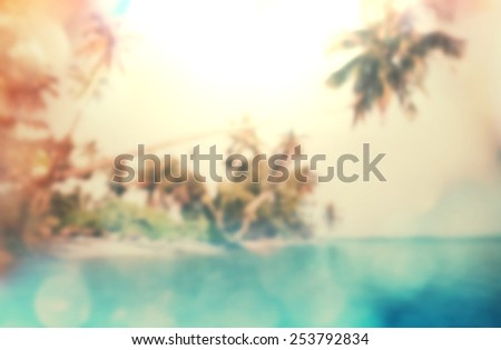 tropical beach background blur - stock photo