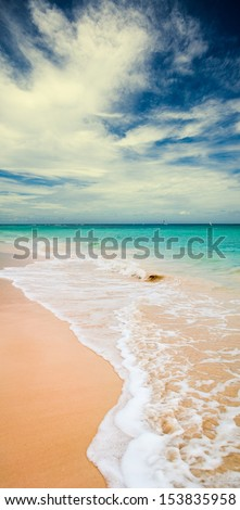 Tropical beach. Bavaro beach, Punta Cana Dominican Republic. - stock photo