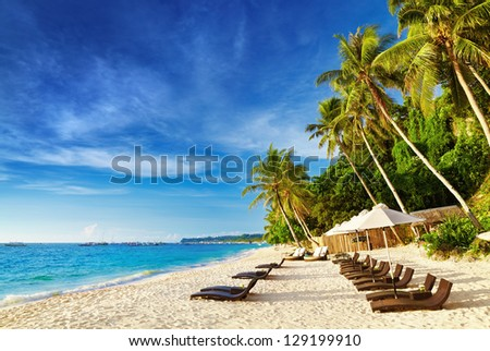 Tropical beach, Boracay island, Philippines - stock photo