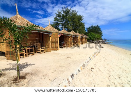 Tropical beach bungalow on ocean shore, Gili Meno, Lombok, Indonesia