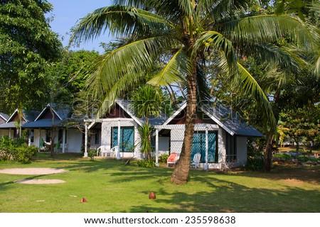 Tropical beach bungalow , Thailand . - stock photo