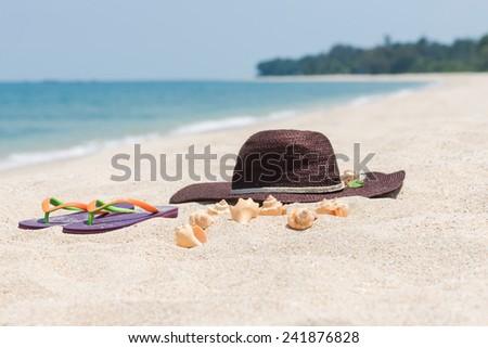 Tropical beach getaway on a remote island - stock photo