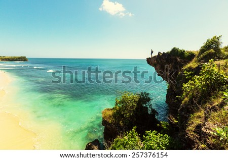 Tropical beach in Bali - stock photo