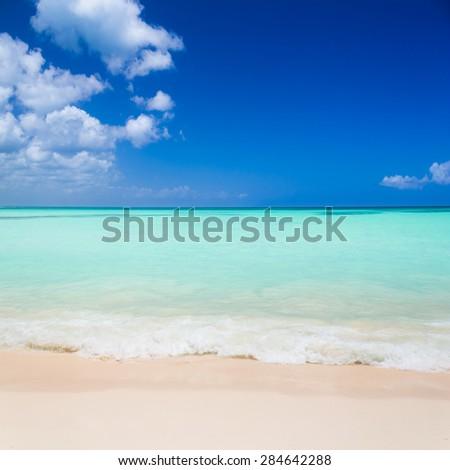 Tropical beach in Caribbean Sea - stock photo
