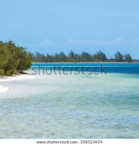 Tropical beach in Cayo Largo island  - stock photo