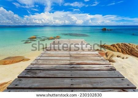Tropical beach in Munnork island, Rayong, Thailand - stock photo