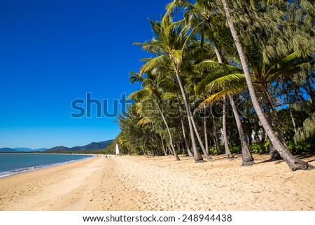 Tropical beach in Queensland, Australia. - stock photo