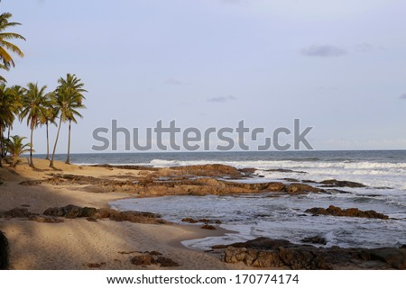 tropical beach in sauipe coast, Bahia state, Brazil - stock photo