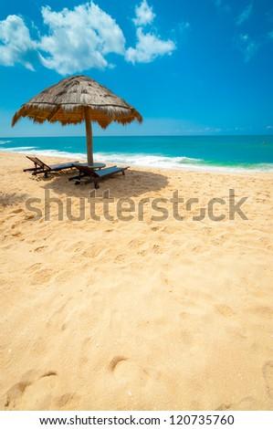 Tropical beach in Sri Lanka - stock photo