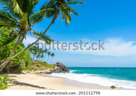 Tropical beach in Sri Lanka - stock photo