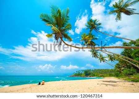 Tropical beach in Sri Lanka. Young woman sitting on the sand. - stock photo