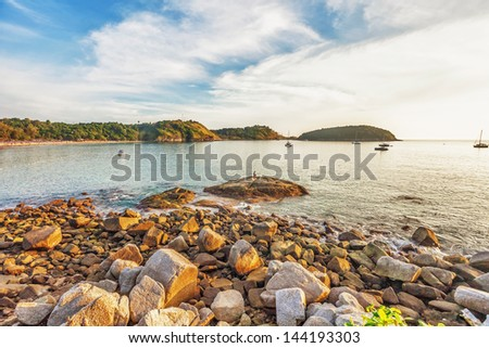 Tropical beach in sunset light. Nature background