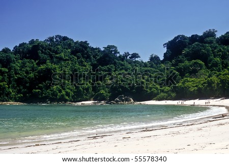 Tropical beach in the Manuel Antonio national park, Costa Rica - stock photo