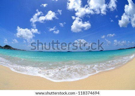 Tropical Beach in the Summertime - stock photo