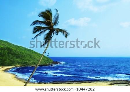 Tropical beach in Vagator,India - stock photo