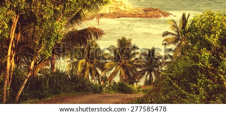 Tropical beach, Indonesia Java - stock photo