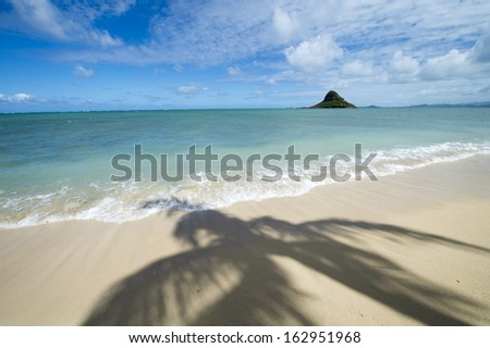 Tropical beach - Kualoa, Oahu, Hawaii -1 - stock photo