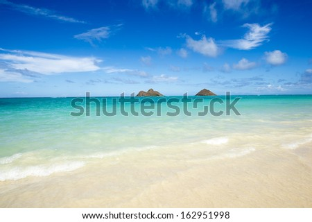 Tropical beach - Lanikai, Oahu, Hawaii -3 - stock photo