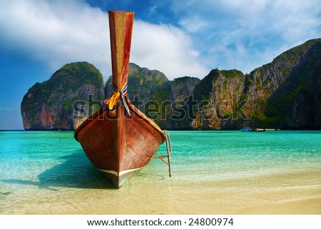 Tropical beach, Maya Bay, Andaman Sea,Thailand - stock photo