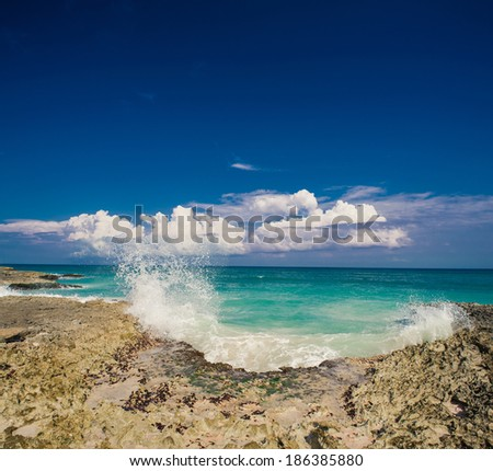 Tropical beach, ocean and sky. beautiful beach and tropical sea. Dominican Republic, Seychelles, Caribbean, Bahamas. Relaxing on remote Paradise beach. - stock photo