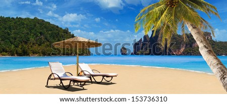Tropical beach of Ko Phi Phi Don island - stock photo