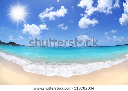 Tropical Beach on a Beautiful, Sunny Day - stock photo