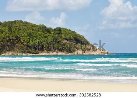 tropical beach on a sunny summer day. Perhentian island, Malaysia.   - stock photo