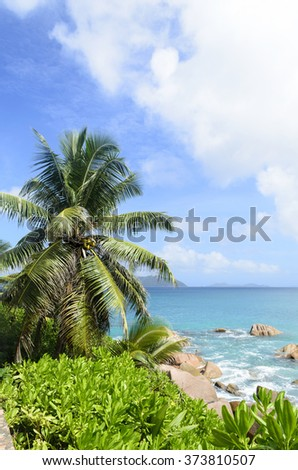 Tropical beach on Seychelles island,La Digue