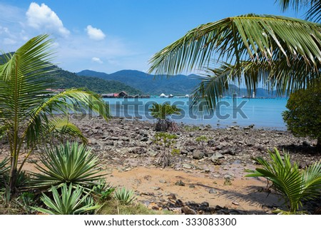 Tropical beach on the island of Koh Chang in Thailand - stock photo
