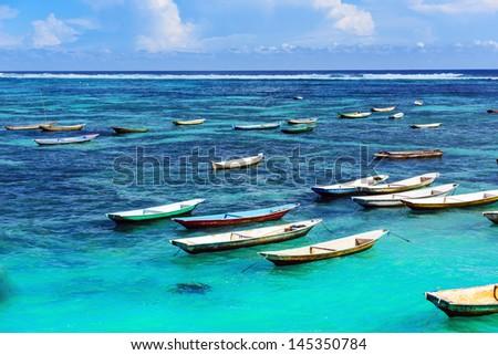 Tropical beach. Padangbai, Bali, Indonesia. - stock photo