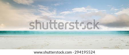 Tropical beach panorama. Lost island - stock photo
