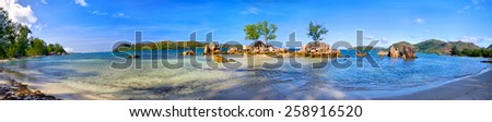 Tropical beach panorama, Praslin Island, Seychelles - stock photo