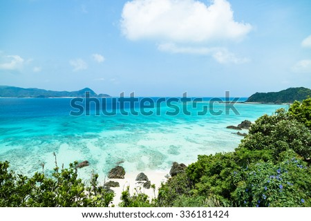 Tropical beach paradise with clear turquoise blue water, Amami Oshima Island, Kyushu, Japan - stock photo