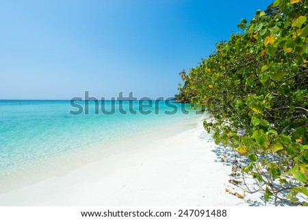 Tropical beach paradise with perfect white sand beach and clear water on a Summer day in Koh Lipe, Thailand - stock photo