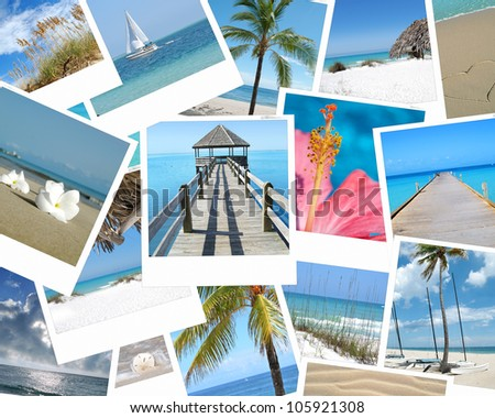 tropical beach photo collage - stock photo