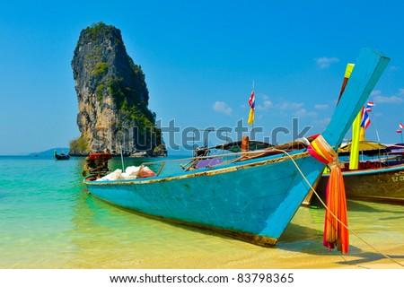 Tropical beach,Po da, Andaman Sea,Krabi Thailand - stock photo