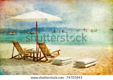 tropical beach scene - retro styled picture - stock photo