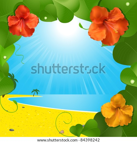 beach scene clipart border. tropical beach scene viewed through a hibiscus flower and leaf border clipart