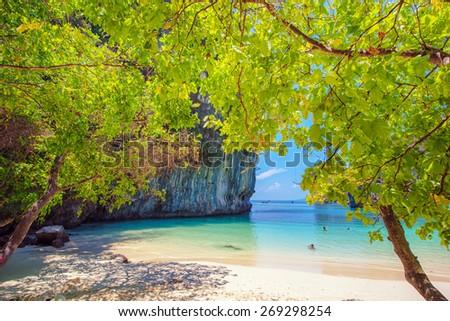 Tropical beach scenery, Andaman sea, View of koh hong island krabi,Thailand - stock photo