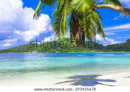 Tropical beach scenery , Seychelles island. Mahe - stock photo