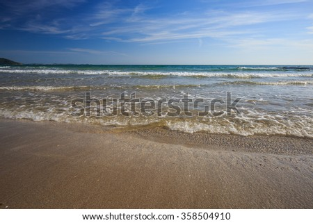 Tropical beach scenery, View of Larn Hin Kaw Beach, Rayong, Thailand